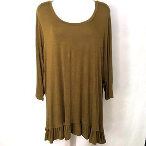 LOGO Olive Green Ruffle Tunic Top